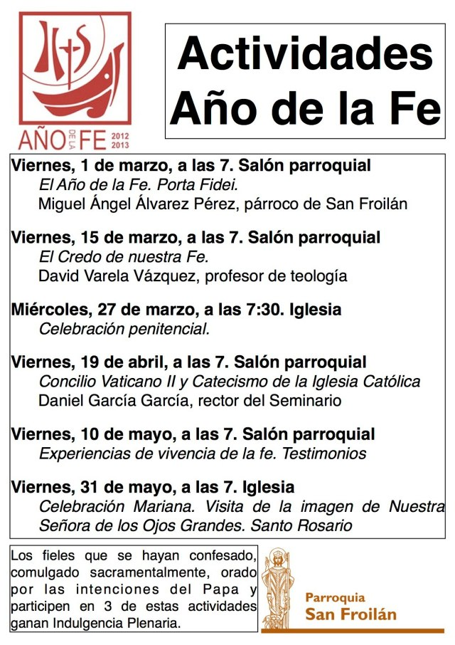 Actividades Año de la Fe Parroquia San Froilán