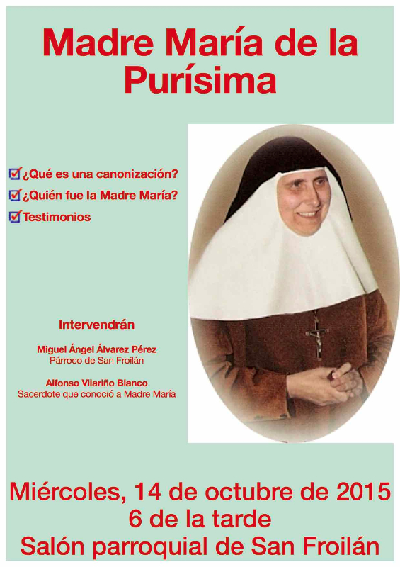 Anuncio charla sobre María Madre de la Purísima